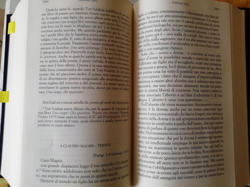 Memoria per Italo Calvino - Lettera a Claudio Magris